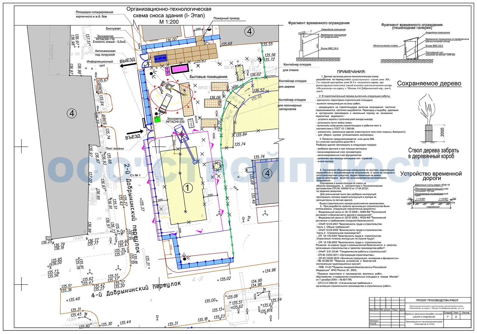 Технологическая карта схема последовательности сноса здания